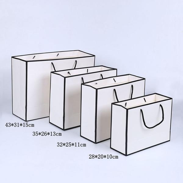 Schwarze Grenzweiß-Papiertüte mit Griff-Hochzeitsfest-Bevorzugungs-Geschenk sackt das kundenspezifische Logo ein