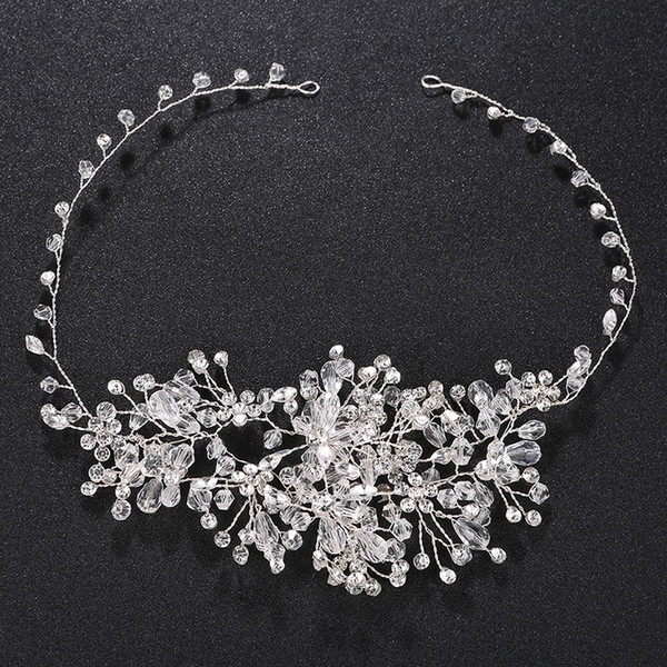 100% Handmade Sparkling Crystal Wedding Hair bands Soft Headband Women Party Hair Jewelry Wedding Accessories