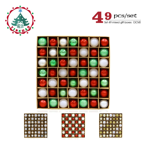 wholesale 49pcs/set Christmas Tree Ornaments Polystyrene Plastic 3cm Decor Balls Baubles Xmas Party Hanging Ball for Home Gifts 2019