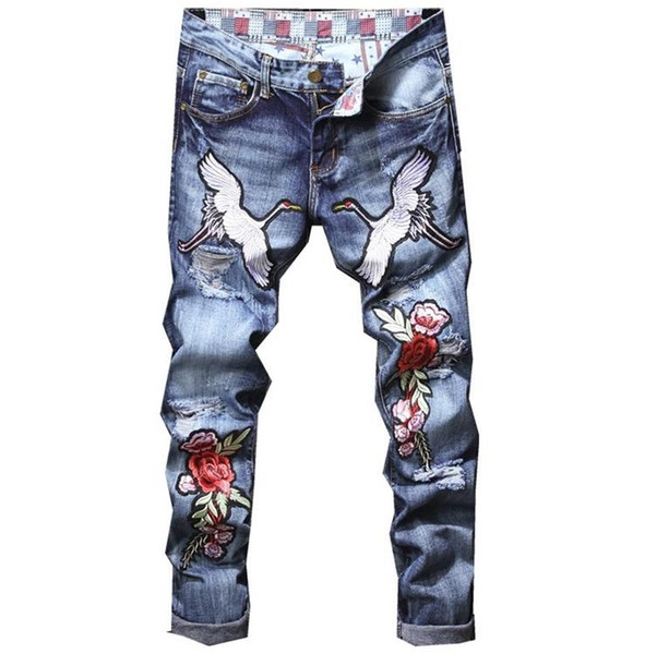 Italian Designer Men Jeans luxury Crane Rose Embroidered Jeans Slim Fit Mens Hole Ripped Distressed Biker Denim Pants 886