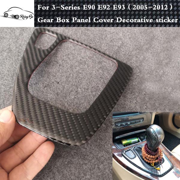 Véritable autocollant décoratif pour panneau de boîte de vitesses en fibre de carbone pour BMW Série 3 E90 E91 E92 E93