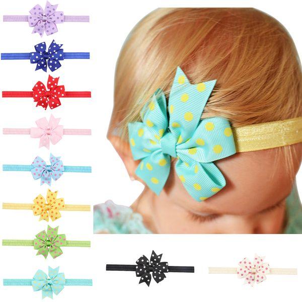 10pcs Kids Hair Bow Flower Headband Ribbon Bow Hair Bands For Newborn Kids Top Knot dot Hair Accessories HC031