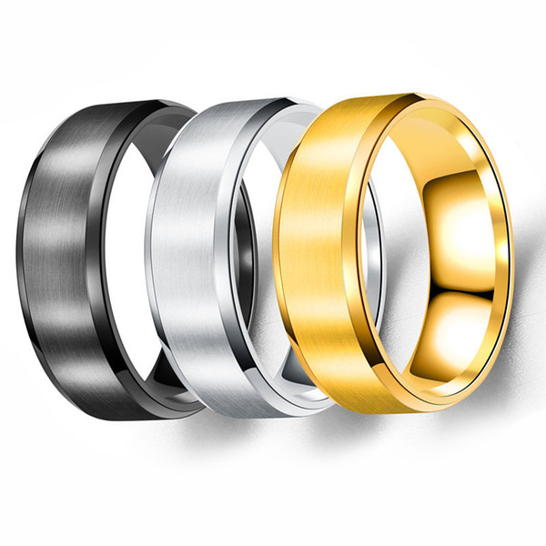 top popular 2018 Classic Men's Statement Rings 8MM Stainless Steel Ring Band Titanium Silver Black Gold 2019