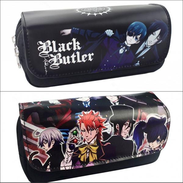 Black Butler Sebastian Women Cartoon Cosmetic Cases Makeup Bag Children Pencil Case Double Zipper Anime Bag Handbag Purse