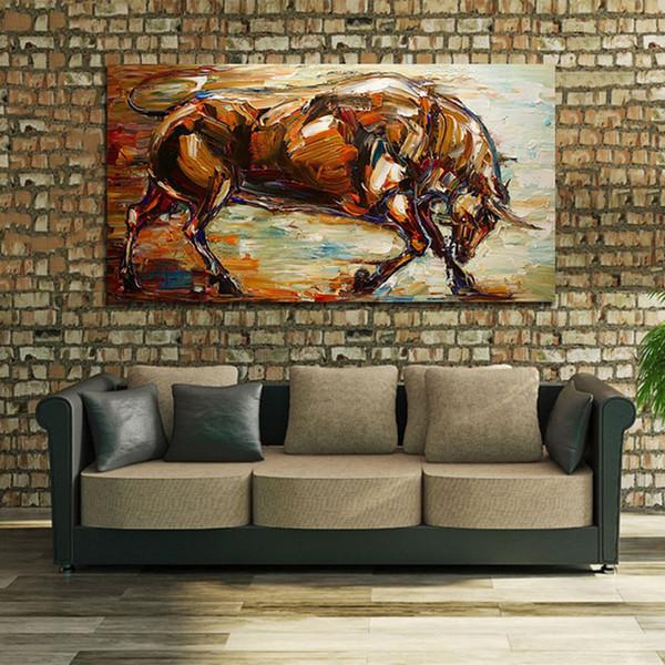 Современный абстрактный сильный бык живопись маслом 100% ручная роспись животных живопись маслом на холсте стены искусства картина домашнего декора