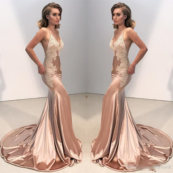 Sexy Rose Gold V Neck Fitted Evening Dresses 2018 Mermaid Spaghetti Straps Arabic Long BacklessProm Party Gowns With Ivory Lace Cheap