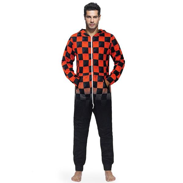 Los hombres del mono Onesies ropa para el hogar negro rojo a cuadros con capucha suelta moda otoño invierno larga ropa de dormir ropa de ocio