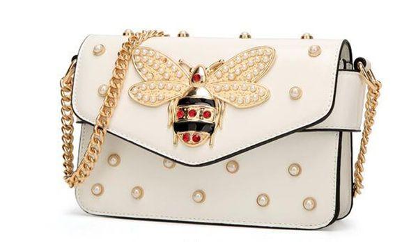 Luxury brand series Gem Bee women Pendant lady genuine leather handbag handbags women bags designer Vintage Flap Bag Satchels Free Shipping