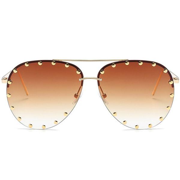 Red Lens Pilot Sunglasses Women Men Goggle Rivet Transparent Brand Designer Sun Glasses For Ladies Metal Frame #
