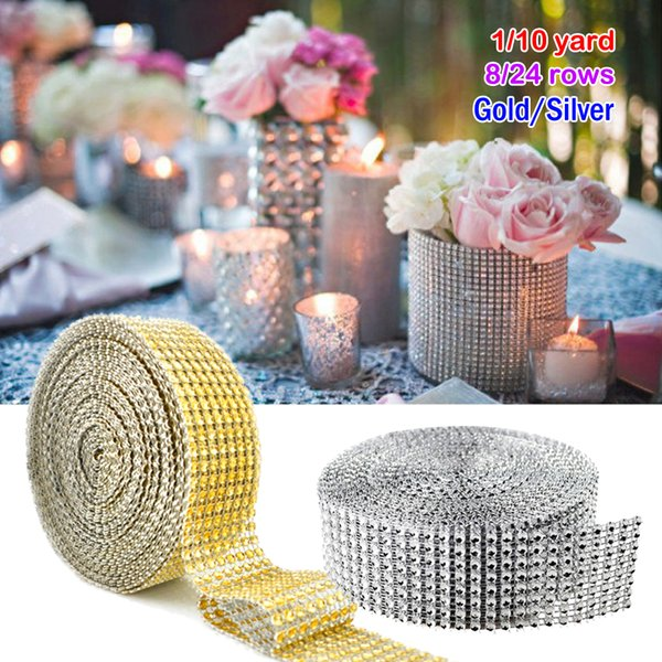 10 Yard/ Roll 8 row Bling Diamond mesh Wrap ribbon silver Rhinestone Mesh Roll Tape Tulle Crystal Ribbon cake wedding Christmas decoration