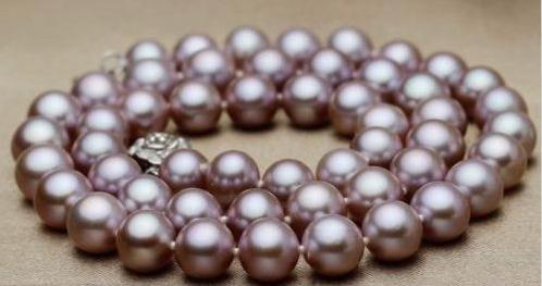 "18"" HUGE 10-11MM PERFECT ROUND SOUTH SEA GENUINE LAVENDER PEARL NECKLACE 14K"