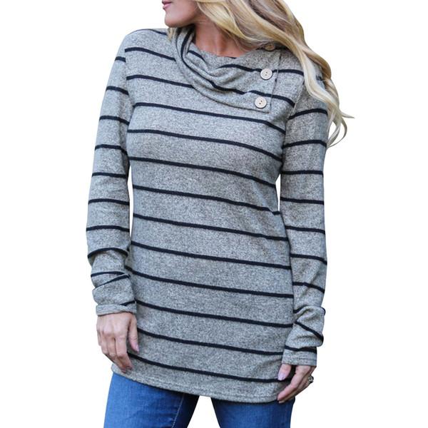 2018 Automne Rayé Pulls Femmes tuniques Plus La Taille 3XL 4XL Irrégulier Col De Cowl Sweatshirt À Manches Longues Top Femme Streetwear