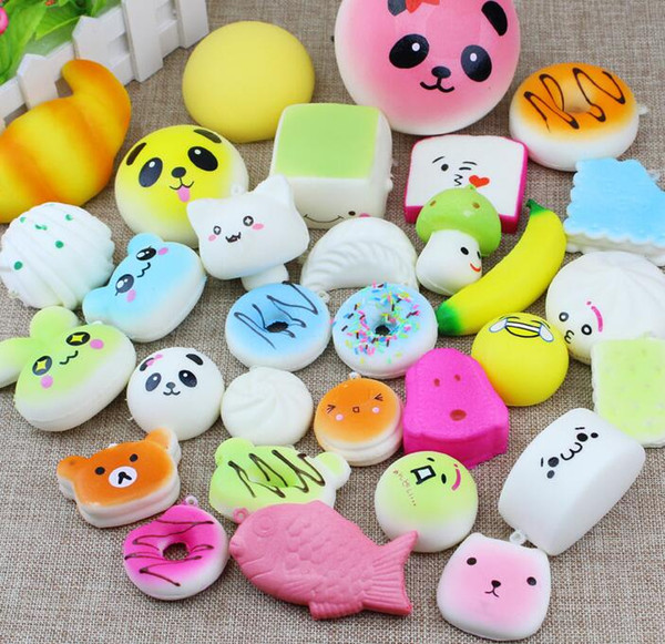 New 10pcs Kawaii Squishies Bun Toast Donut Bread for cell phone Bag Charm Straps Wholesale mixed Rare Squishy slow rising lanyard scented