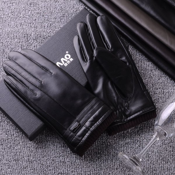 Touch screen business men's washed PU leather gloves autumn and winter velvet thickening warm Korean fashion gloves