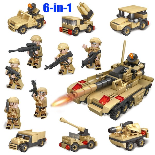 6-in-1 WW2 Tank Building Block Toy 3D Tiger Tank Model Military Toy ducational Toy for boy kid