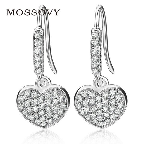 Mossovy Heart-shaped Cubic Zirconia Silver Dangle Earring for Female Fashion Popular Rhinestone Earrings for Women Jewelry