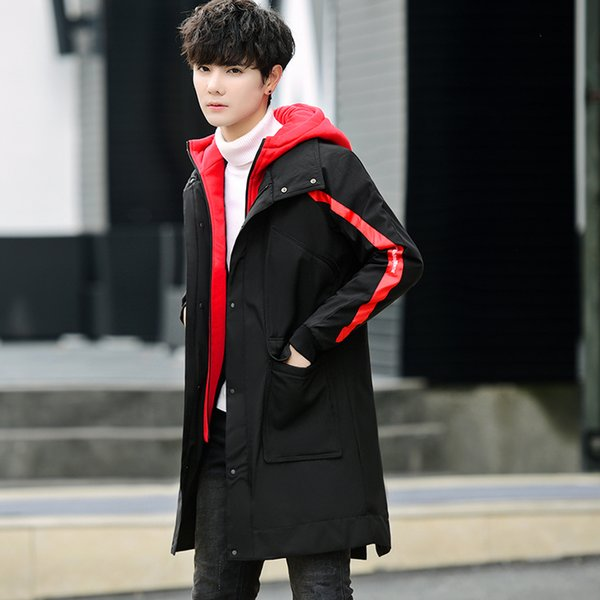 Men's Winter Jackets 2018 New Men Fashion Long Thick Warm Cotton Padded Parkas Coat Male Slim Fit Black Red Patchwork Clothing