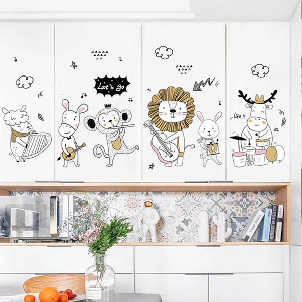 Hohe Qualität Mode 2018 Tier Musik Party Entfernbare Wandaufkleber Kind Zimmer Kunst Dekore Dropshipping