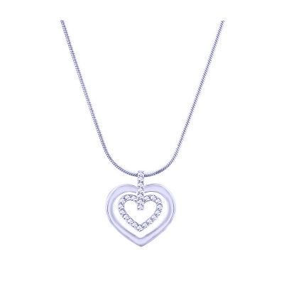 925 sterling silver diamond silver trim circle heart love necklace silver jewelry necklace rose gold necklace