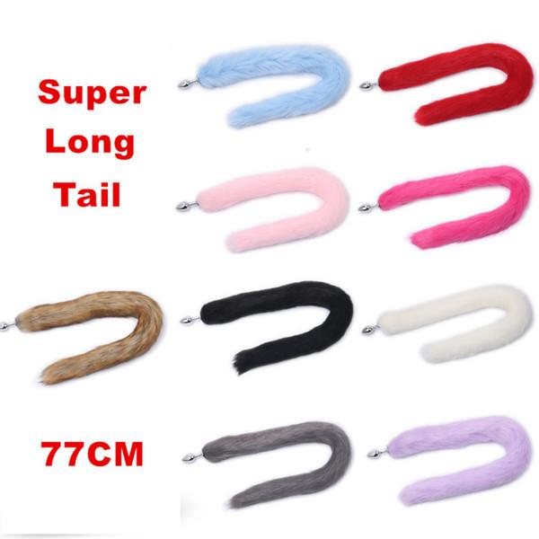 Nova Cor Múltipla 77 CM Super Longo Liga De Alumínio Da Cauda De Metal Butt Plug Pequeno Tamanho Plugue Anal Para BDSM Cosplay Brinquedos Sexuais Para mulheres