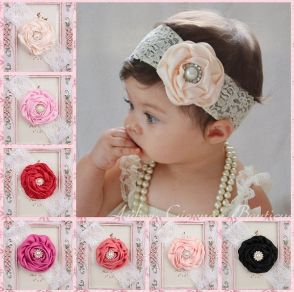 10 colors lace pearl crystal flowers baby girls elastic headbands unisex headwear hair jewelry toddlers newborn photography props