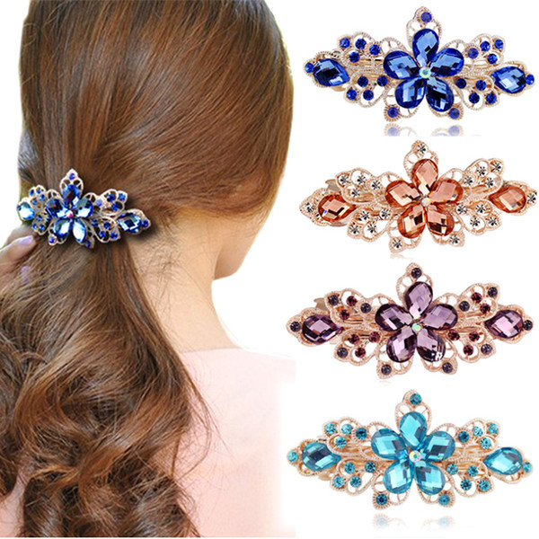 Luxury Rhinestone Hollow Flowers Barrettes For Women Multicolor Crystal Tiaras Hair Jewelry Gold Plated Hair Clips Top Hairpins Headwear