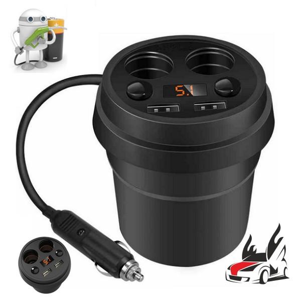 DHL 20PCS USB Charger Socket Car Cigarette Lighter Dual Cup Holder Adapter Power Supply (Color: Black)