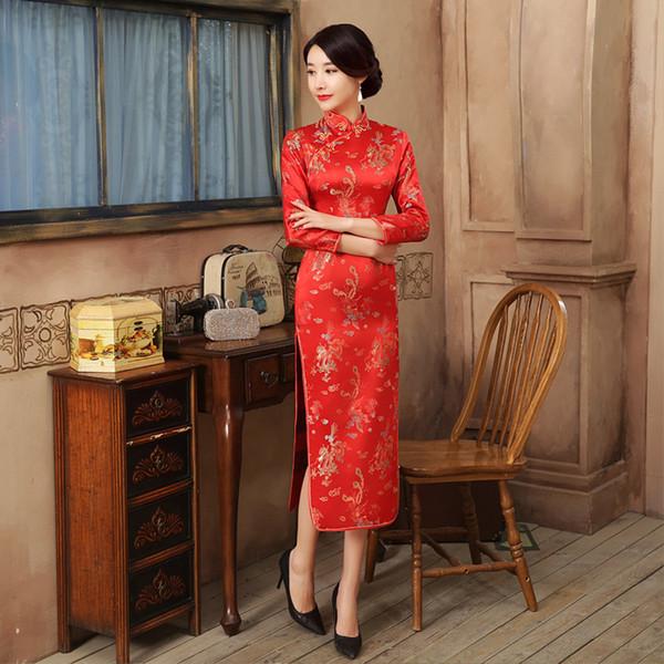 Abito da donna Qipao Silm di alta moda in raso rosso cheongsam vintage di alta qualità cinese maniche lunghe novità S-2XL E0013-A