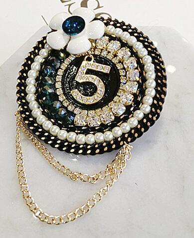 Digital 5 camellia flower tassel brooches pins luxury brand desiger pearl crystal rhinestone diamond brooch corsages scarves buckle gift