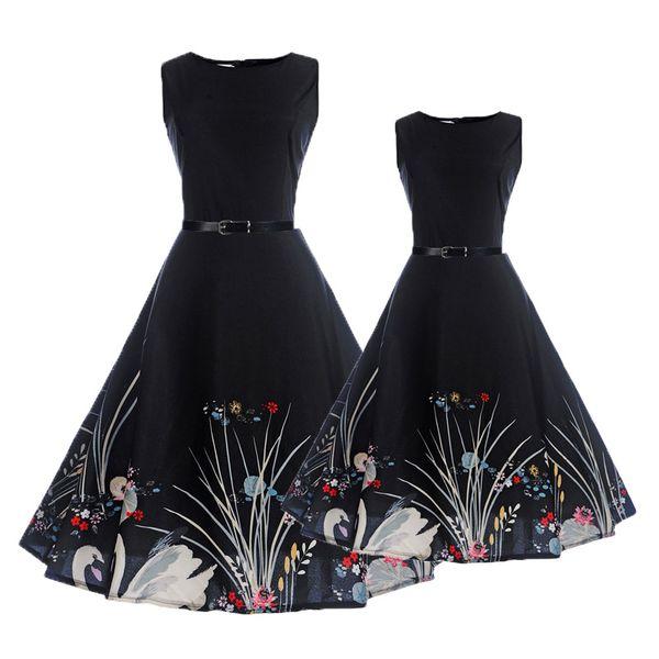 ABGMEDR Marka Anne Kızı Elbiseler Gençler Kız Yaz Elbise Aile Eşleştirme Kıyafetler Giyim Sıcak Günler Çocuklar için Baskılı Elbise