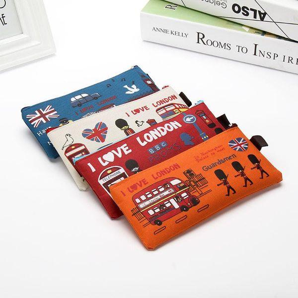 Wholesale-Pen box pouch bag bags school canvas Korea cute cheap art supplies stationery pencil vintage stationery students British anime