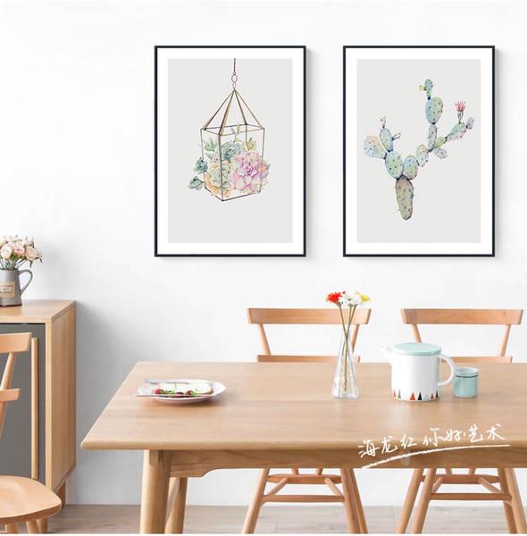 Acquerello pianta grassa fiore di cactus poster stampa stile nordico soggiorno wall art picture decorazione della casa della tela di canapa pittura