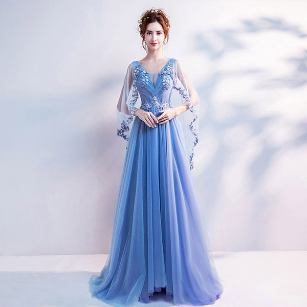 Princess tribe fairy vigor is brilliant, romantic blue wedding dress, wedding dress, dinner party dress.