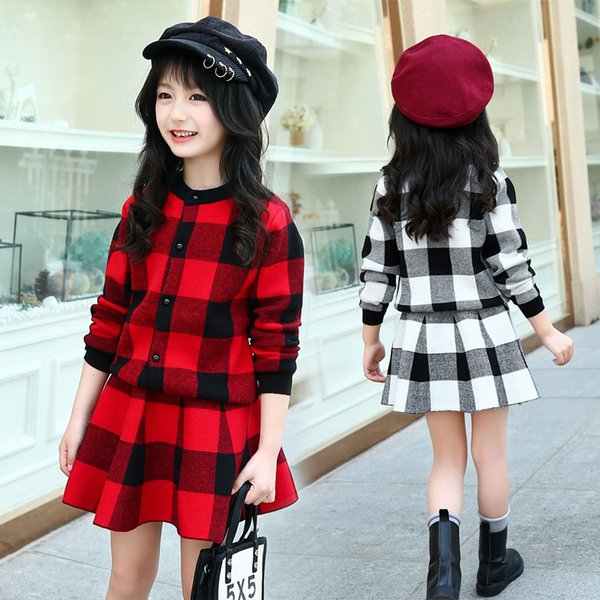 2018 Winter Girls Warm Thicken Sweaters Clothing Set For Children Outfit Red Big Kids Plaid Cardigan Sweater Skirt Suit 4-12Year