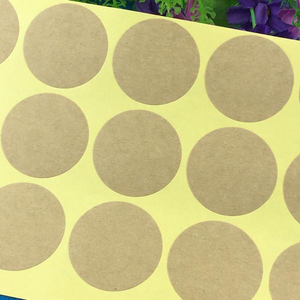2000 adet Kraft Boş Kağıt Etiket Etiketleri 4 cm Çapı Yuvarlak Kendinden yapışkanlı Etiket Sızdırmazlık Için ipuçları / kutu / takı / çanta / kart