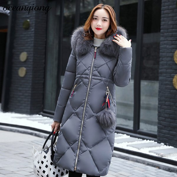 3XL Woman Parka Jacket with Raccoon Fur Coat Jacket Slim Warm Winter Thick Coat Women Fashion Hooded Long Cotton Padded Parka