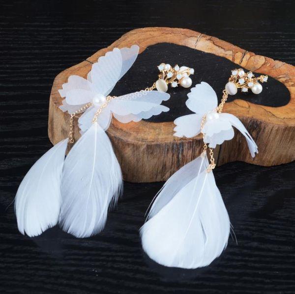 Beautiful long white butterfly earrings feather ear clip earrings wedding gauze dress accessories