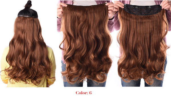 190g 24 inch Stretched Wavy Clip in Synthetic Hair Extensions Heat Resistant Fiber 4 Clips one Piece 17 Colors Available