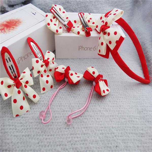 1set=7pcs Children Cute Hair Accessories Hairband Hairpins Gum for Baby Girls Lovely Bow Headwear Hair clip Headband