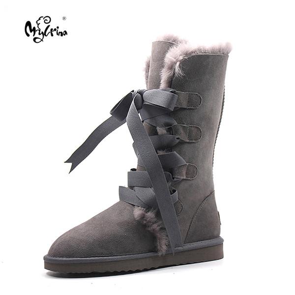 MYLRINA Mode Haute Qualité Véritable En Peau de Mouton En Cuir femmes Bottes de Neige Naturel Fourrure D'hiver Bottes Chaud Laine Femmes
