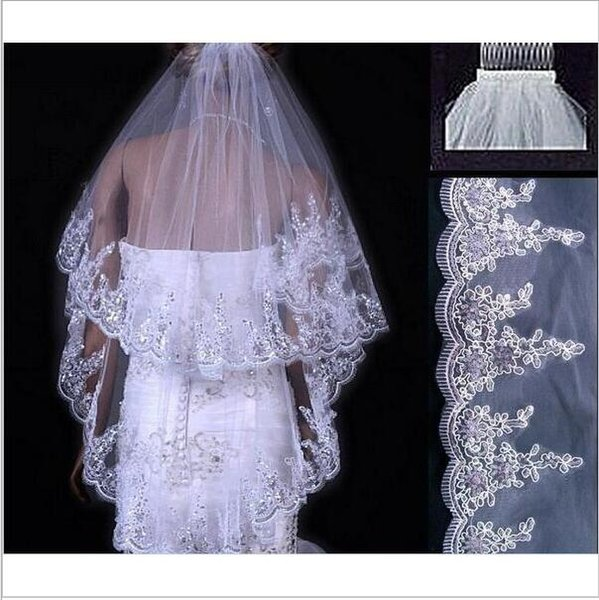 Fingertip Length Two Layer Wedding Veil Applique Lace Crystal Bride Veil Custom Made Cheap Wedding Veils With Comb Bridal Accessories