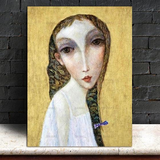 High Quality Wall Art Picture Handpainted & HD Print Abstract Girl Portrait Art oil painting On Canvas Home Decor Multi Sizes p149