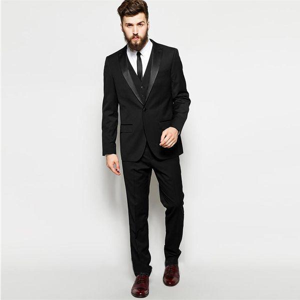 Latest Coat Pant Design 2018 Vintage Men Suit for Wedding Black Groom Tuxedo Best Man Blazer 3 Piece Jacket Pants Vest Peaked Lapel