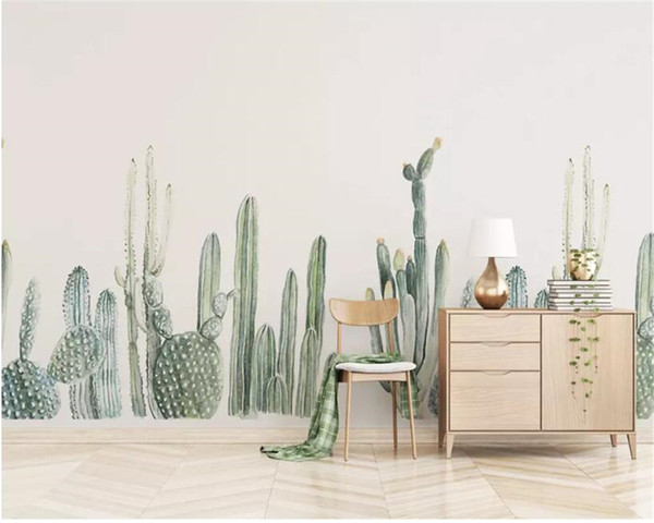 papel de parede Beibehang personalizado 3d Rainforest cactus TV Cafe quarto sala de parede do fundo de decoração para casa vivo mural papel de parede 3d