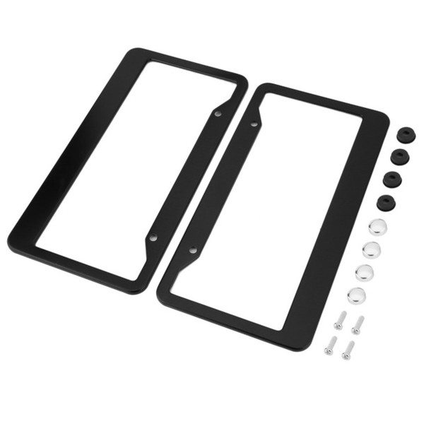 Newest2pcs Black Aluminum Alloy Car Auto Vehicles License Plate Frame Tag Cover Holder With Screw Caps Car Styling