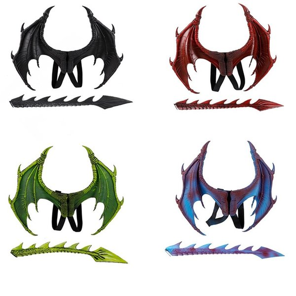 Unisex Halloween Carnival Party Kids Dragon Cosplay Set Wings and Tail Child