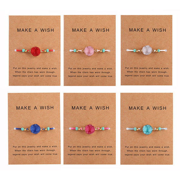 best selling Handmade Druzy Resin Stone Bracelet Make a Wish Card Wax Rope Braided Bracelets Bangles With Rice Bead for Women Girls Summer Beach Jewelry