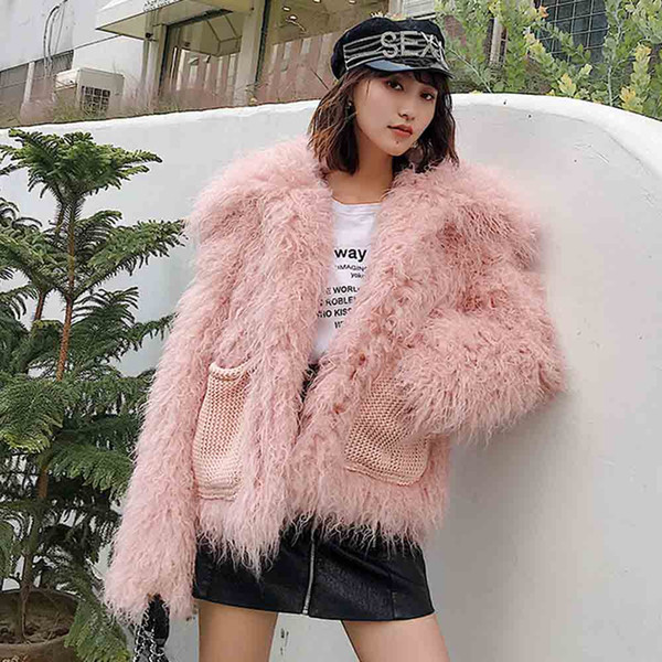 txjrh stylish faux lamb sheep fur long hairy shaggy big lapel outwear long sleeve knitted pockets jackets coat  3 colors - from $69.54