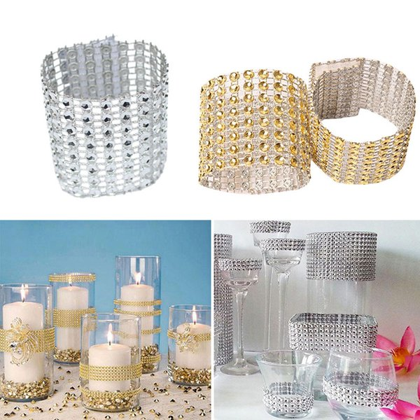 Mesh Trim Bling Diamond Wrap Cake Napkin Ring Roll Crystal Ribbons Party Wedding Table Decoration Party 30Pcs