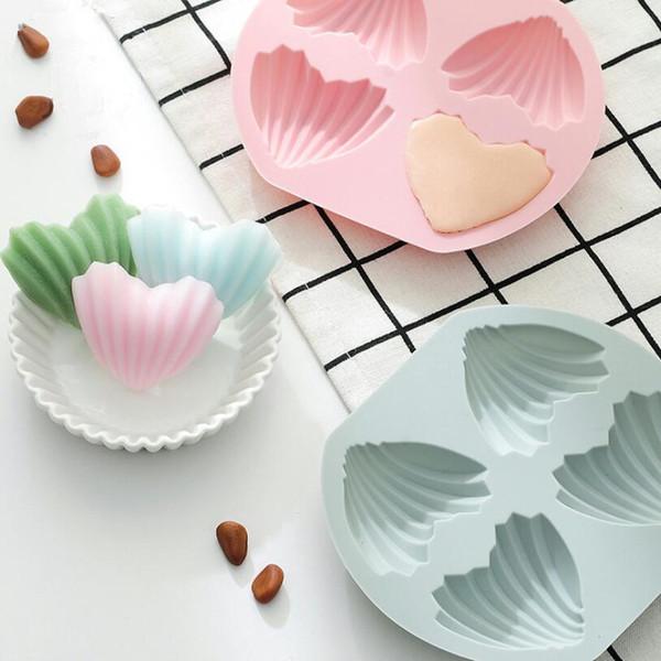 4 delik kalp şekli Madeleine kek kalıbı ev pişirme aracı yapışmaz silikon çikolata kalıpları